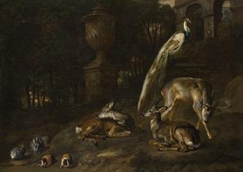 escena con ciervos y conejos de indias by david de coninck