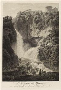 die grotte des neptunus mit den tempeln der vesta und sibylle in tivoli / der wasserfall des velino bey terni (2 works) by friedrich wilhelm gmelin