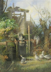geese by a mill wheel by johan kristofer boklund