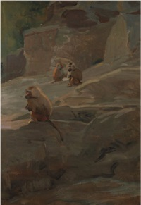 baboons at the london zoo by charles walter simpson