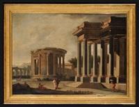 tempio di vesta a tivoli e pronao tuscanio con astanti by niccolò codazzi
