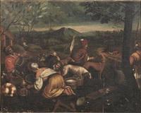 la mietitura; pastori e armenti in un paesaggio (coppia) by seguace dei bassano