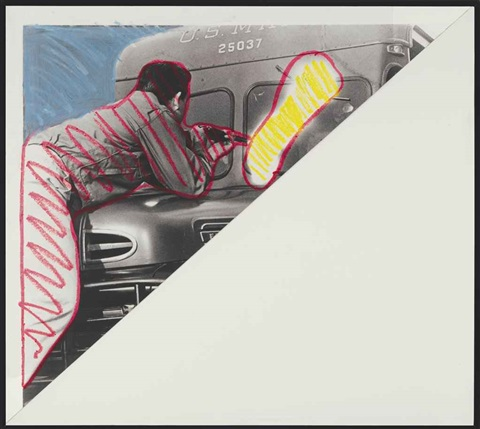 man shooting at truck by john baldessari