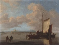 fishing vessels transferring their catch to shore, near a background port with a castle (dover?) by r. vale