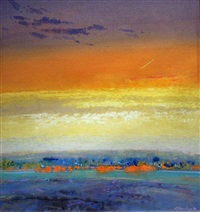jet trail sunset, jersey, and wet beach, lowtide, evening jersey (2 works) by david henley