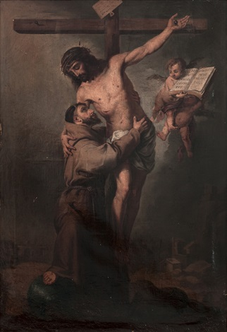 san francisco abrazando a cristo crucificado after bartolomé esteban murillo by francisco cabral bejarano