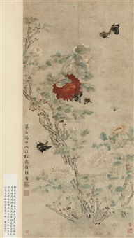富贵迭来 (flowers and birds) by xu ji