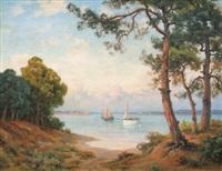 soleil couchant sur la baie d'arcachon by lucien simonnet