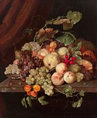 stillleben mit weintrauben, marillen, birnen, pfirsichen und melonen by cornelis kick