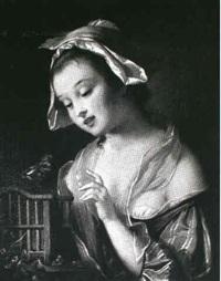 ung pige ved et fuglebur by charles-antoine-marie annee