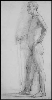 academic study of male nude by george agnew reid