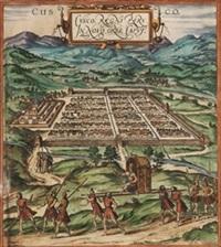 cuzco,capital del reino de perú en el nuevo mundo by franz hogenberg