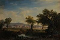 panoramic view of a valley with town by giovanni (johann) varone