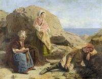 rastende frauen und knabe an der bretonischen küste by james hayllar