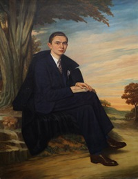 portrait of a gentleman seated full-length in a landscape by jesus rodriguez corredoyra de castro