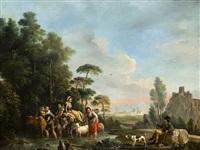 paisaje con cazador descansando y familia de pastores by josé camaron y boronat