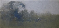 twilight, figures in landscape by jesse jewhurst hilder