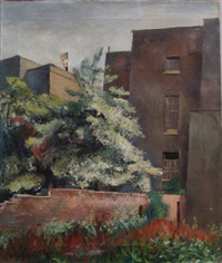 view of a back garden by john arthur malcolm aldridge
