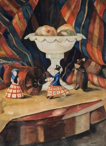 stillleben mit einer obstschale und drei dymkovo spielzeugfiguren vor gestreifter vorhangdraperie in form einer bühneninszenierung by sergei yurevich sudeikin