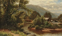 landscape with lumber mill by george w. waters
