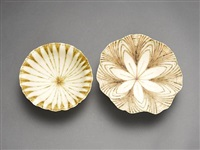 footed bowl (+ another; 2 works) by mary ann rogers
