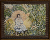 jeune femme à l'ombrelle dans un jardin by louis ritman