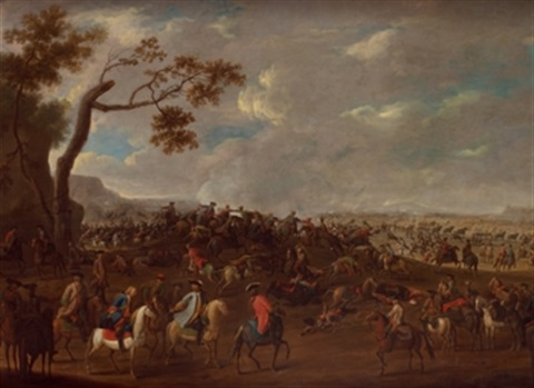 escena de batalla en flandes by georg philipp rugendas the elder