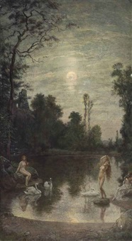 the three beauties by moonlight by william john hennessy