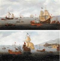 an english frigate flanked by levantine galleys (+ two dutch men-o'-war accompanied by levantine galleys; pair) by caspar van eyck