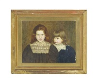 portrait of gilbert colville eliot young (aged five) with his sister elfrida mary eliot young (aged four), the children of daniel eliot young... by thomas bowman garvie