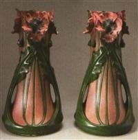 große vasen mit mohndekor (pair) by julius dressler
