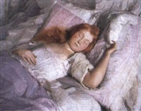 a sleeping girl by pál jávor