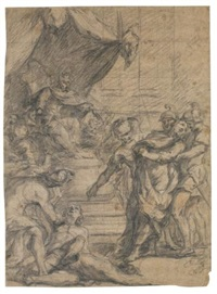 a scene of martyrdom before a tyrant; study of a male nude (recto-verso) by italian school-northern (17)