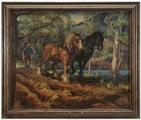 farmer plowing with team by macivor reddie