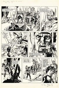 jason drum - return of the warrior!, planche 5 (for journal tintin)(+ color sheet, gouache, smllr; 2 works) by gil kane