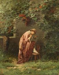 jeune femme avec cage d'oiseau au parc by henri langerock