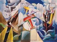 dinamismo di treno + aereo + nave by giulio d'anna
