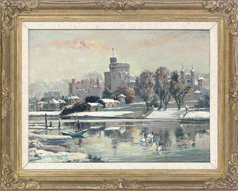 swans and a figure in a punt, before windsor castle by vernon ward