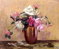 still life of roses in a vase by brantley smith