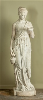 classical carved marble robed lady with ewer by anonymous (19)