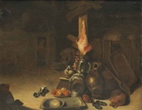 a barn interior with a dog sleeping beside cooking vessels, a pair of shoes, with a ham hanging, peasants beyond by pieter jacobsz duyfhuysen