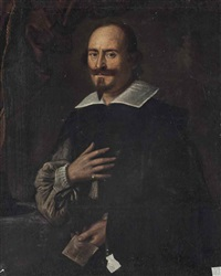 portrait of a man, half-length, in black robes and a white collar, holding a letter by italian school-northern (17)