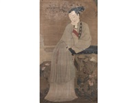 an elegant standing lady resting her chin thoughtfully on her right hand while leaning on a qin beside a finger citron balanced upon rockwork on a terrace by anonymous-chinese (18)