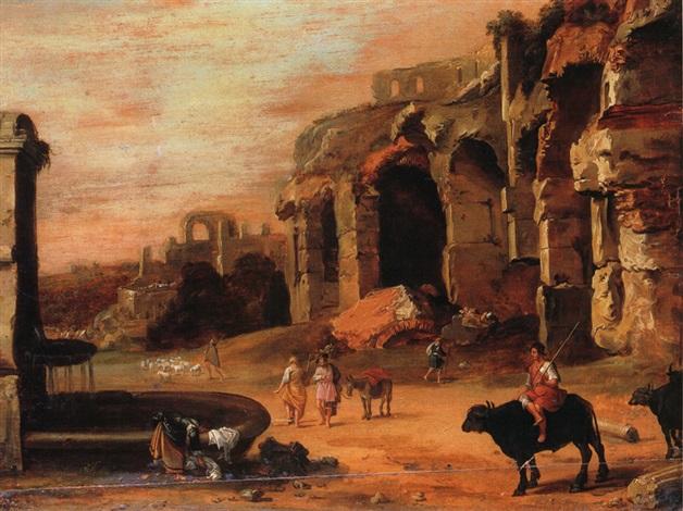 ruinenlandschaft mit brunnen by charles cornelisz de hooch
