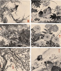 花鸟 (birds and flowers) (album w/10 works) by cao rong