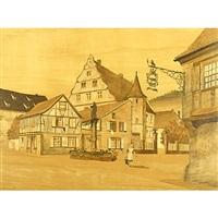 alsace village scene by jean-charles spindler