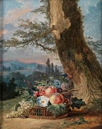 stilleben mit früchten und blumen in einem korb am fusse eines baumstamms in einer landschaft by anonymous (18)