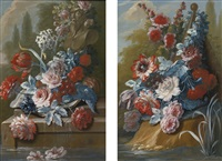 bouquets of flowers on a ledge above water (pair) by mary moser