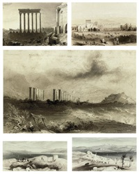 the six pillars at baalbek, lebanon (+ 4 others; 5 works) by william henry bartlett