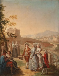 figuras elegantes paseando cerca de un puente by d. francisco bayeu y subias